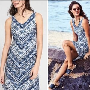 Athleta Santorini Blue White Sleeveless Dress